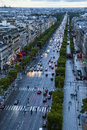 Paris champ elysee view from the top of the arc de triumph paris france wide angle skyline and ave Royalty Free Stock Images