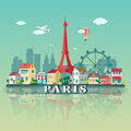 Paris City landscape. Flat design illustration Royalty Free Stock Photo