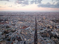 Paris city seen from above with buildings and streets Royalty Free Stock Photo
