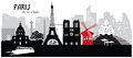 Paris cityscape skyline Royalty Free Stock Photo