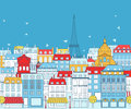 Paris cityscape with traditional buildings and famous architectures elements Stock Photos