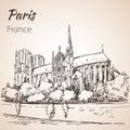 Paris cityspace. Cathedral Notre Dame de Paris.