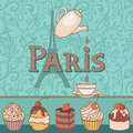 Paris coffee vector card with bakery Stock Images