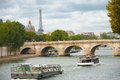 Paris Cruise Boats Seine Eiffel Tower Royalty Free Stock Photos
