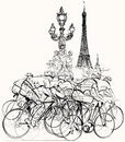 Paris cyclists in competition vector illustration of a group of Royalty Free Stock Image