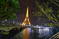 Paris dec eiffel tower shows its wonderful lights in the ev Stock Photos
