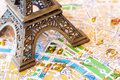 Paris detailed map travel concept of with a part of eiffel tower Royalty Free Stock Image