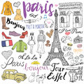 Paris doodles elements. Hand drawn set with eiffel tower bred cafe, taxi triumf arch, fashion elements, cat and french bulldog. Dr Royalty Free Stock Photo