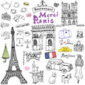 Paris doodles elements. Hand drawn set with eiffel tower bred cafe, taxi triumf arch, Notre Dame cathedral, facion elements, cat a