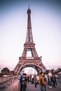 Paris eiffel tower france october seen here is a street scene along the pont d iéna bridge towards the at sunset pictured in the Stock Photo