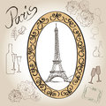 Paris eiffel tower illustration set love paris frame vintage collection french cafe symbol hand drawn picture in with design Royalty Free Stock Photo