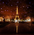 Paris Eiffel Tower at Night Stock Photo