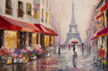 Paris - Eiffel Tower - Original oil painting on canvas - A pair of lovers under an umbrella - Modern Art Royalty Free Stock Photo