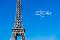 Paris eiffel tower with plane drawing airplane Stock Photos
