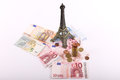 Paris euros money leather wallet with banknotes over white background Royalty Free Stock Images