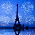 Paris fireworks at Eiffel Tower Royalty Free Stock Photo