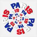 Paris flag text circles Royalty Free Stock Photography