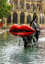 Paris, fountain at Centre Pompidou, National Modern Art Museum Royalty Free Stock Photo