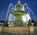 Paris: Fountain at the Place de la Concorde at nig Royalty Free Stock Photo