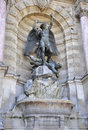 Paris fountain saint michel statue beautiful statues of in france on august Royalty Free Stock Photo