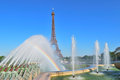 Paris fountains at trocadero square france with rainbow in the park complex Stock Images