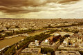 Paris france aerial view of the city of light crossed by the seine river and with the sacre coeur basilica in the background Stock Images