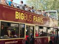Paris France sightseeing double decker touristic bus in downtown Royalty Free Stock Photo