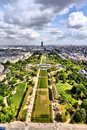 Paris france cityscape with field of mars gardens and montparnasse skyscraper unesco world heritage site Stock Photography