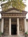 Paris, France, Date 8.13.2018, Time 11 o`clock and 34 minutes.Entrance front and entrance of the church, Notre-Dame de la Nativit