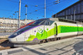 Paris france july gare de nord modern speed passe passenger train on north railways station in Stock Images