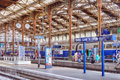 Paris france july high speed train at the north r railways station gare de nord is comfortable and most Royalty Free Stock Photography