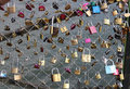 Paris france july lovelocks messages d amour on brand new are hung on the passerelle des arts as several of love Royalty Free Stock Photography
