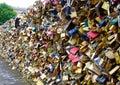 Paris, France, July 05, 2014 Seine River Love Bridge decorated by padlocks, Paris.