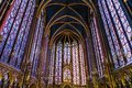 Religious stained glass windows in the Sainte Chapelle, Paris, F