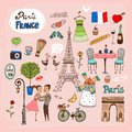 Paris france landmarks and icons set of hand drawn with lovers the eiffel tower lamppost fashion arc de trimphe bicycle baguette Stock Photography