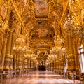 Paris, France, March 31 2017: Interior view of the Opera National de Paris Garnier, France. It was built from 1861 to Royalty Free Stock Photo