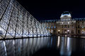 The Louvre Palace and the Pyramid, Paris at night Royalty Free Stock Photo