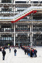 Paris france march queue to centre georges pompidou centre third most visited paris attraction million visitors per year paris Stock Photo