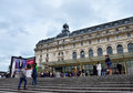 Paris, France - May 14, 2015: Visitors at the Main entrance to the Orsay modern art Museum in Paris Royalty Free Stock Photo