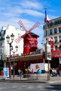 Paris, France. Moulin Rouge is a famous cabaret built in 1889 Royalty Free Stock Photo