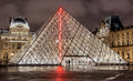 Paris, France - November 16, 2014: Night view of The Louvre muse