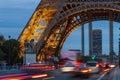 PARIS, FRANCE - OCTOBER 1: Tour Eiffel at Night on October 1, 2012 in Paris, France. During the night, 352 floodlights illuminate Royalty Free Stock Photo