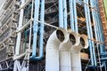 PARIS, FRANCE - October 24, 2017: Communications and Ventilation pipes outside the Centre Georges Pompidou.