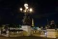 Paris, France-september 29, 2015 :The bridge of Alexandre III at night, Paris, France. Royalty Free Stock Photo