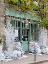 The traditional French cafe Au viex Paris d`Arcole decorated for Christmas, France. Royalty Free Stock Photo