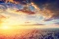 Paris, France skyline, panorama at sunset. Eiffel Tower, Champ de Mars Royalty Free Stock Photo