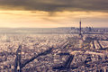 Paris, France skyline at sunset. Eiffel Tower in romantic golden light Royalty Free Stock Photo