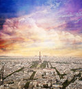 Paris, France skyline with sunset sky. Eiffel Tower