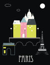 Paris france vector illustration on black background Stock Images