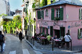 Paris - a french bistrot at Montmartre Stock Photos